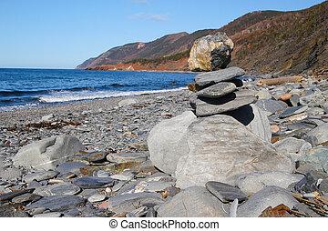 rastro, breton, cabot, paisagem, nova, atlântico, ao longo, scotia, oceânicos, capa