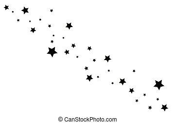 rastro de la estrella, elegante, fondo negro, blanco, ...