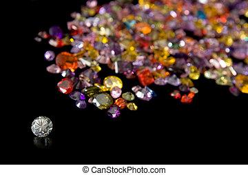rastro, diamante, DISPERSADO, gema