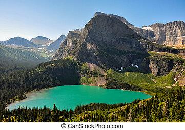 rastro, lago, grinnel, montana, parque, glaciar, nacional, ...