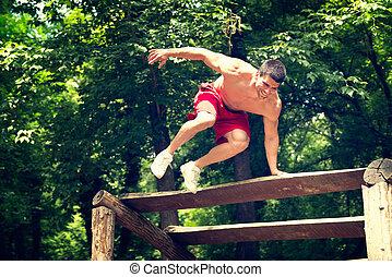 rastro, macho, saltar, condición física
