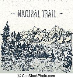 rastro, natural, ilustração