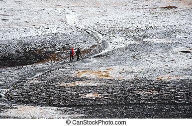 rastro, naturaleza, gente, excursionismo, nevoso