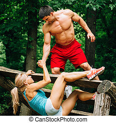 rastro, pareja, condición física, joven, ejercitar