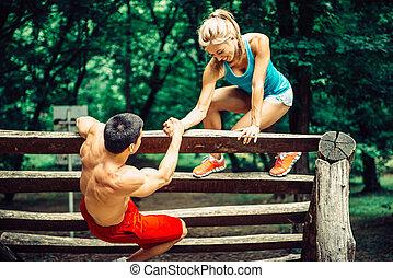 rastro, pareja, condición física