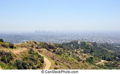 rastro, vista, encima de, hollywood