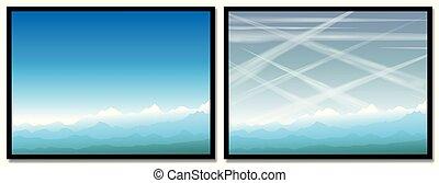 rastros, contrails, condensação, luz, poluição