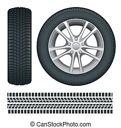 rastros, pneus, ícones, isolado, rodas trilha, row., vetorial, car