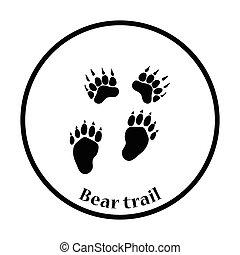 rastros, urso, ícone