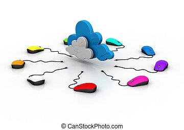 ratón, computadora, conectado, nube