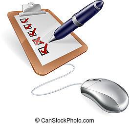 ratón, computadora, encuesta, tabla, clip