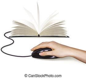 ratón, computadora, libros, mano