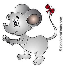 ratón, con, arco, en, cola