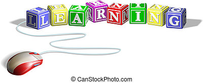 ratón, concepto, bloques, aprendizaje