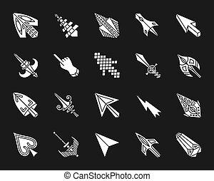 ratón, cursor, blanco, silueta, iconos, vector, conjunto