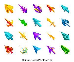 ratón, cursor, simple, plano, color, iconos, vector, conjunto