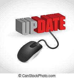 ratón, mensaje, diseño, actualización, ilustración