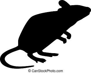 ratón, silueta, posición