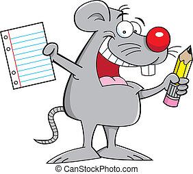 ratón, tenencia, papel, y, lápiz