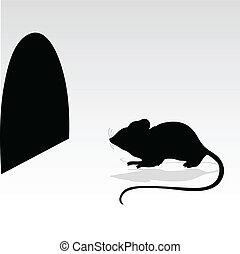 ratón, y, su, agujero, vector, silhouett