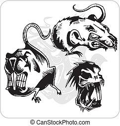 rat., agresywny, wektor, -, komplet