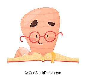 rat bibliothèque, favori, vecteur, caractère, illustration, lecture, sourire, livre