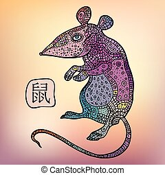 Rat. Chinese Zodiac. Animal astrological sign.