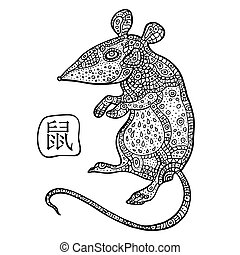 Rat. Chinese Zodiac. Animal astrological sign. - Chinese...
