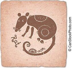 Rat Chinese Zodiac Sign Horoscope Vintage Card.