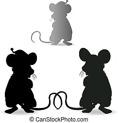 Rat collection, silhouette for new year 2020 design, on a white background
