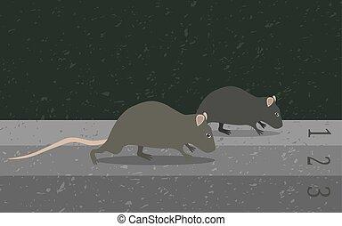 rat, concept, métaphore, course