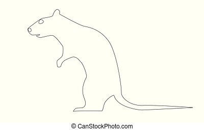 Rat drawn in one thin continuous line, vector