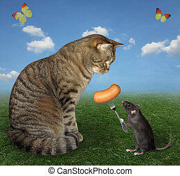 Rat feeds a cat sausage 2