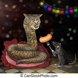 Rat gives sausage to cat snake 2