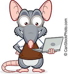 Vector clipart picture of a rat holding a laptop