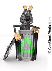 rat into garbage basket on white background. Isolated 3D illustration