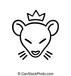 Rat king head - Rat king tattoo design. Simple and minimal...