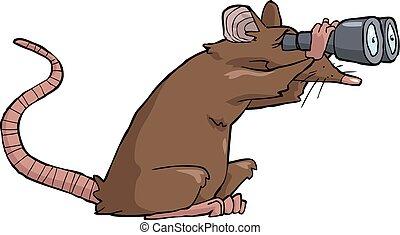 Rat looking - Cartoon rat looking through binoculars vector ...