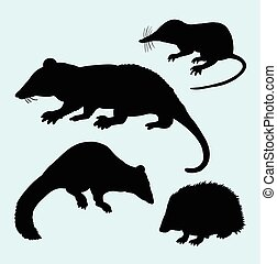 Rat mice weasel and hedgehog silhouettes. Good use for logo,...