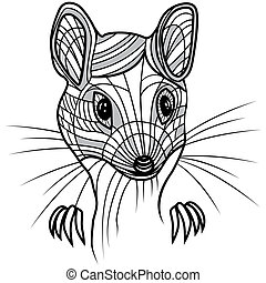 Rat or mouse head vector animal illustration for t-shirt.