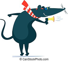 Rat or mouse, megaphone and news isolated illustration - ...