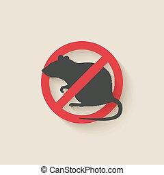 rat, panneau avertissement