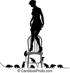 Editable vector silhouettes of a frightened woman standing on a chair surrounded by rats