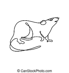 rat rodent one line style icon