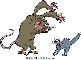 Rat scares the cat