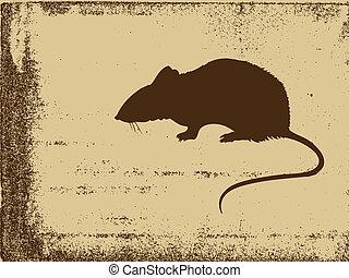 rat silhouette on grunge background, vector illustration