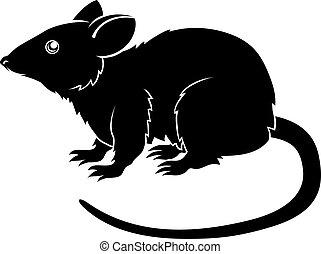 rat, stylisé, illustration