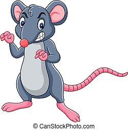 rat, uitdrukking, boos, spotprent