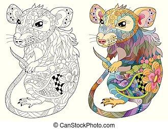 rat., vecteur, dentelle, zentangle, main, stylisé, dessiné, illustration