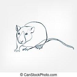 rat vector animal wild one line design
